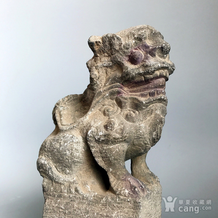精品重器 收藏级古石雕 清代案头石狮一只图4