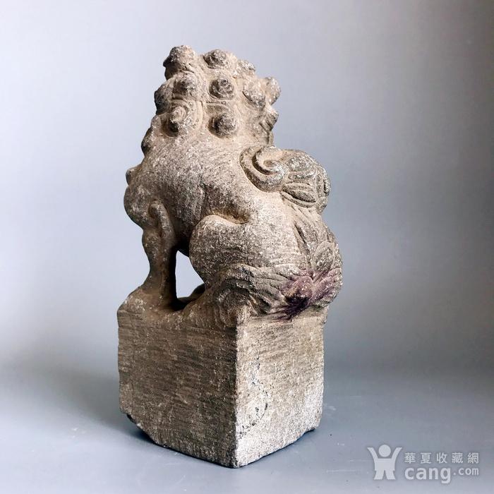 精品重器 收藏级古石雕 清代案头石狮一只图7