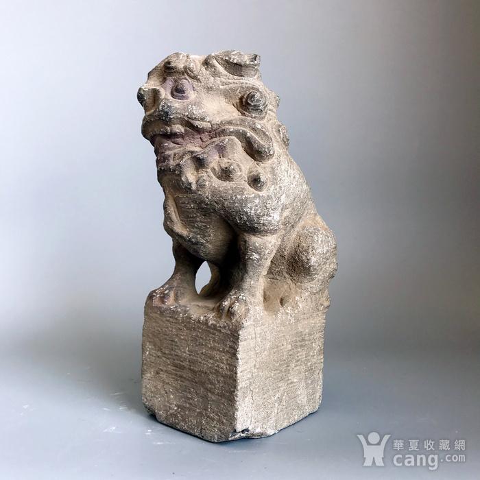 精品重器 收藏级古石雕 清代案头石狮一只图9