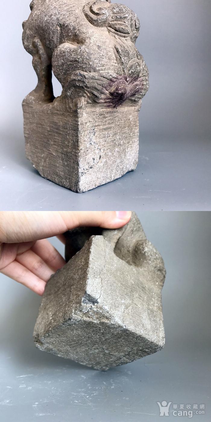 精品重器 收藏级古石雕 清代案头石狮一只图12