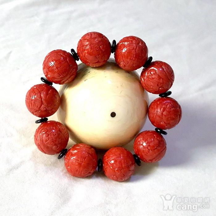 20mm阿卡珊瑚雕花圆珠手串