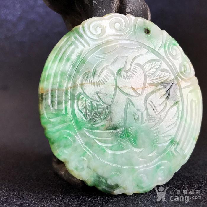 精品收藏级古玉翠 清代正阳绿老翡翠圆牌图5