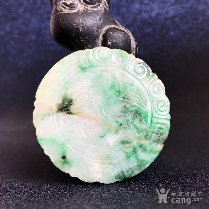 精品收藏级古玉翠 清代正阳绿老翡翠圆牌图6