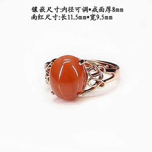 天然南红樱桃红戒指 银镶嵌83371