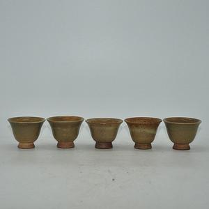 日本茶道绿釉茶杯五件套