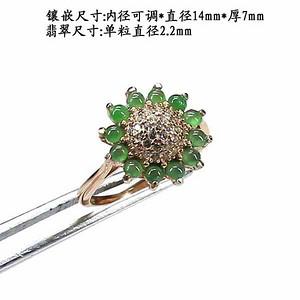 冰种荧光阳绿翡翠戒指 银镶嵌80782