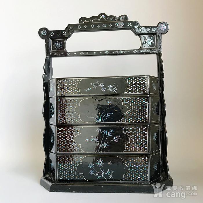 精品收藏漆器 木器 黑大漆嵌螺钿满工多层提盒图2