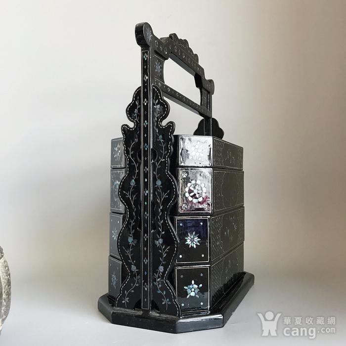 精品收藏漆器 木器 黑大漆嵌螺钿满工多层提盒图3