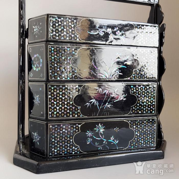 精品收藏漆器 木器 黑大漆嵌螺钿满工多层提盒图7