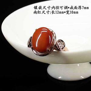 天然南红柿子红戒指 银镶嵌83373