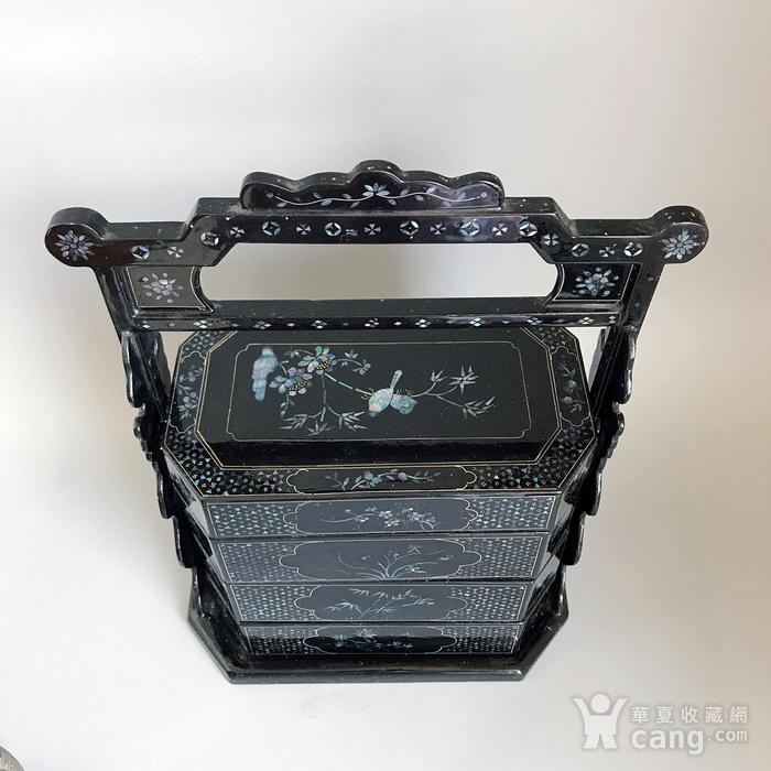 精品收藏漆器 木器 黑大漆嵌螺钿满工多层提盒图9