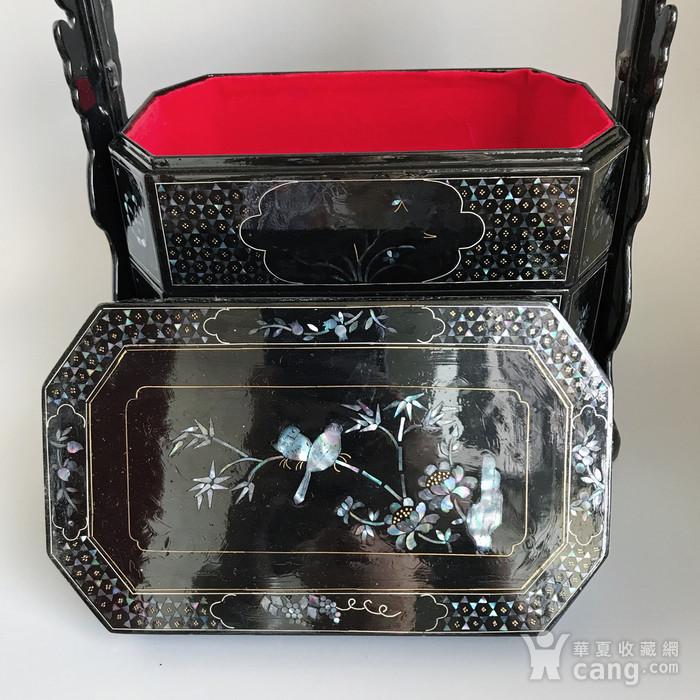 精品收藏漆器 木器 黑大漆嵌螺钿满工多层提盒图10