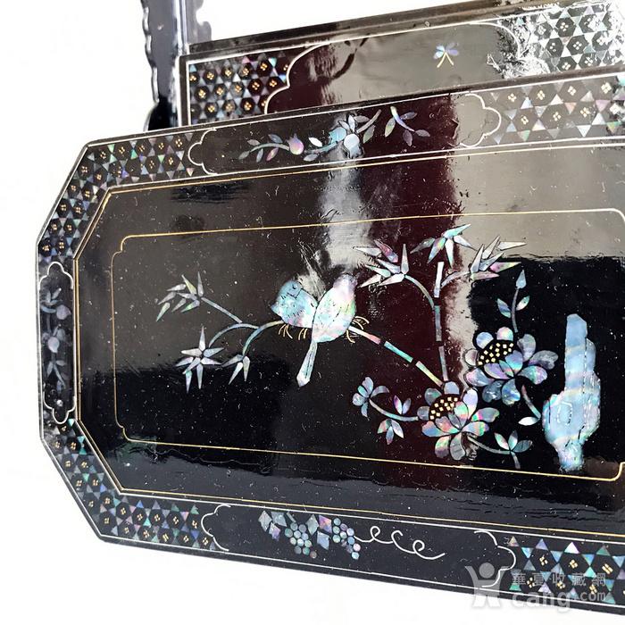 精品收藏漆器 木器 黑大漆嵌螺钿满工多层提盒图11