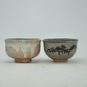 日本茶道瓷碗两个