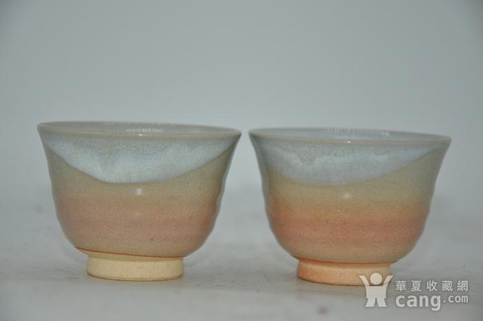 日本茶道瓷茶碗一对图2