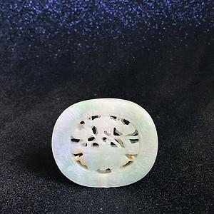 精品收藏级 清代老翡翠镂空香囊形玉佩