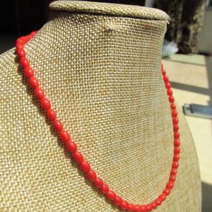 同料 天然莫莫红珊瑚 米粒珠 项链
