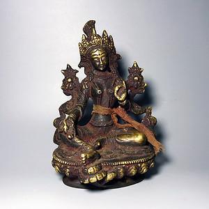 藏传佛像收藏 清代绿度母像一尊