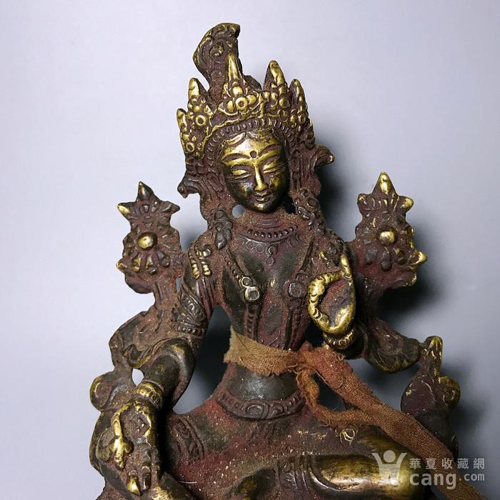 藏传佛像收藏 清代绿度母像一尊图2
