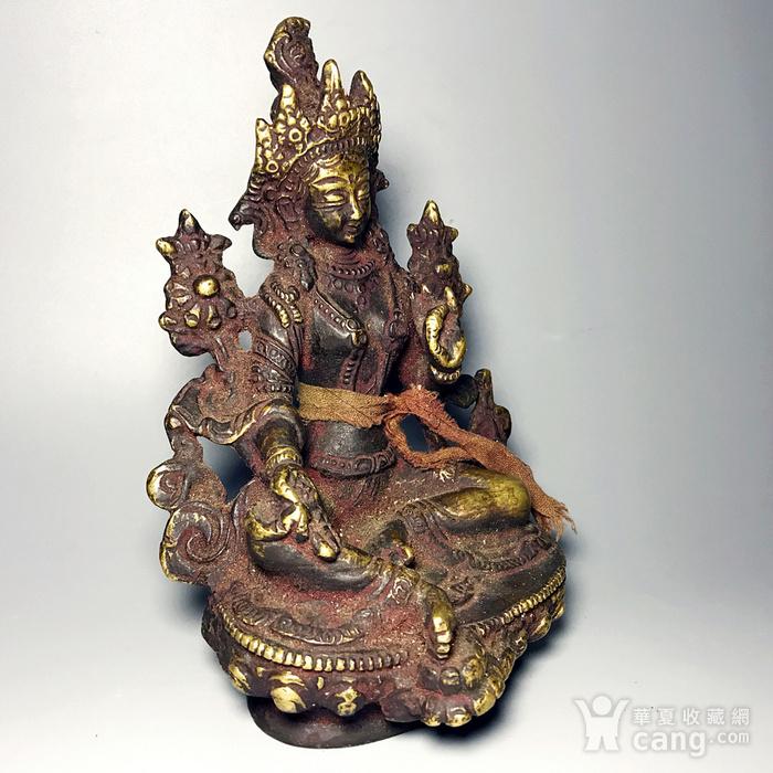 藏传佛像收藏 清代绿度母像一尊图4