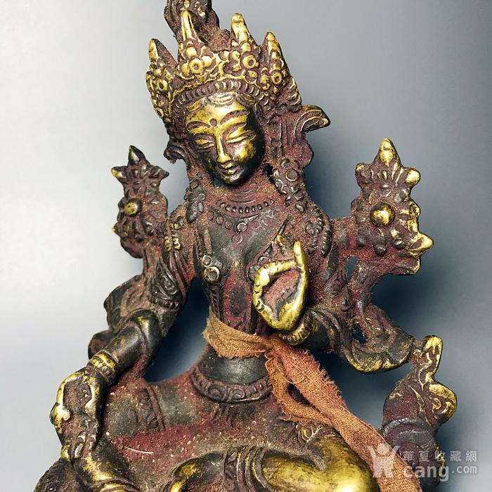 藏传佛像收藏 清代绿度母像一尊图9