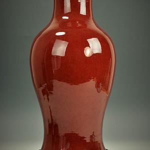 欧美回流 漂亮清光绪郎窑红釉大观音瓶