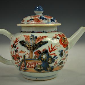 欧美回流 漂亮清乾隆青花矾红釉描金大茶壶
