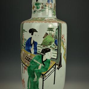 欧美回流 极美品清光绪五彩西厢记人物特大棒槌瓶