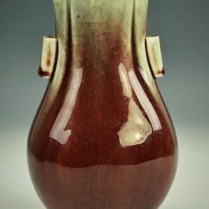 欧美回流 漂亮清光绪霁红釉杏元贯耳瓶