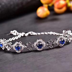 炫彩蓝宝石手链出货,丽非常的切工,爆闪的火彩,925银电镀白金,