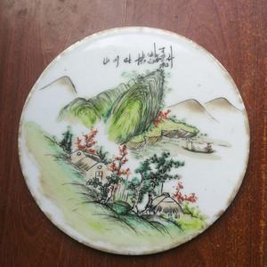 民国粉彩老瓷板