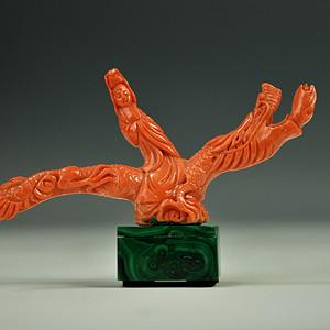 欧美回流 极美品 红珊瑚乘龙观音雕件