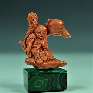 欧美回流 极美品 红珊瑚海螺童子雕件