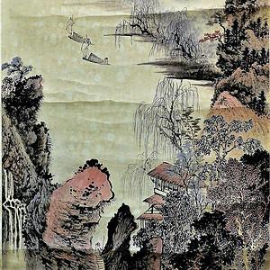 欧美回流 漂亮郑午昌设色纸本湖山秋霁老画轴