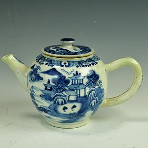 欧美回流 漂亮乾隆青花山水人物大茶壶