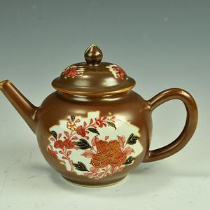 欧美回流 精美清乾隆紫金釉开窗描金花卉茶壶