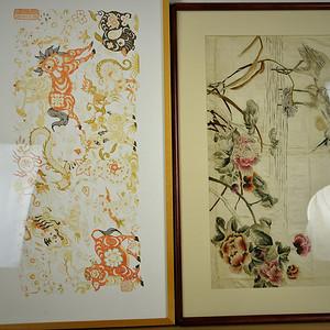 欧美回流 漂亮两个剪纸和刺绣画框