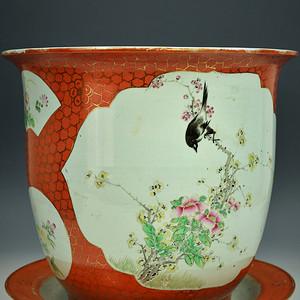 欧美回流 极美品 清光绪珊瑚红釉描金开窗大花盆连托