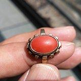 老的2.95gK金嵌红珊瑚戒指