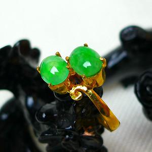 冰种满绿双蛋镶铜戒指