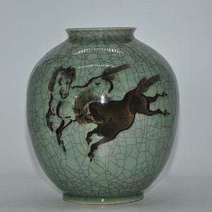 日本手绘相马烧瓷瓶