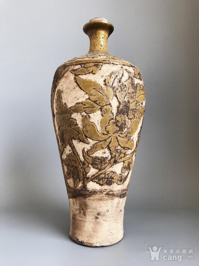 精品收藏级 耀州窑剔花牡丹瓶图1