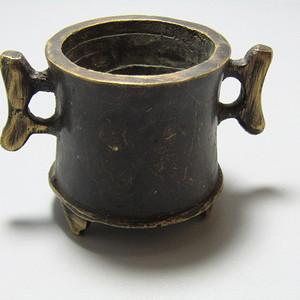 双立耳 带款 三足 铜香炉 手工斩刻 氧化清晰