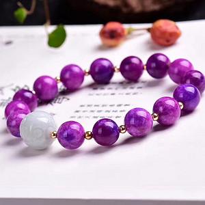 南非国宝,抗癌宝石,老料舒俱来圆珠手链搭配翡翠,皇家紫!色泽油润,光泽