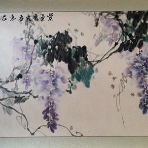 著名书画家蒋海青 江涛 代表作品《紫气东来春意浓》2007年支持鉴定