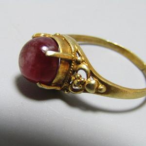 欧洲回流 六芒星光 红宝石戒面 戒指