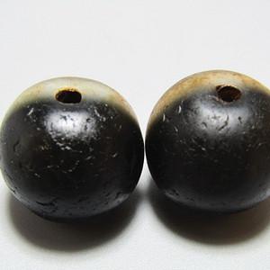 藏传玛瑙 天地珠 一对 包浆老厚