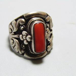 回流 沙丁红珊瑚 戒面配银托戒指