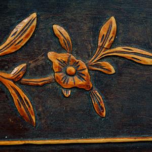 老红木嵌黄杨木花片