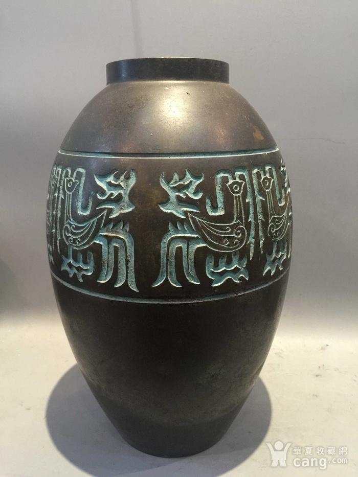 龙凤纹铜橄榄尊图1